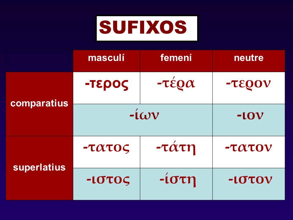 SUFIXOS -τερος -τέρα -τερον -ίων -ιον -τατος -τάτη -τατον -ιστος -ίστη