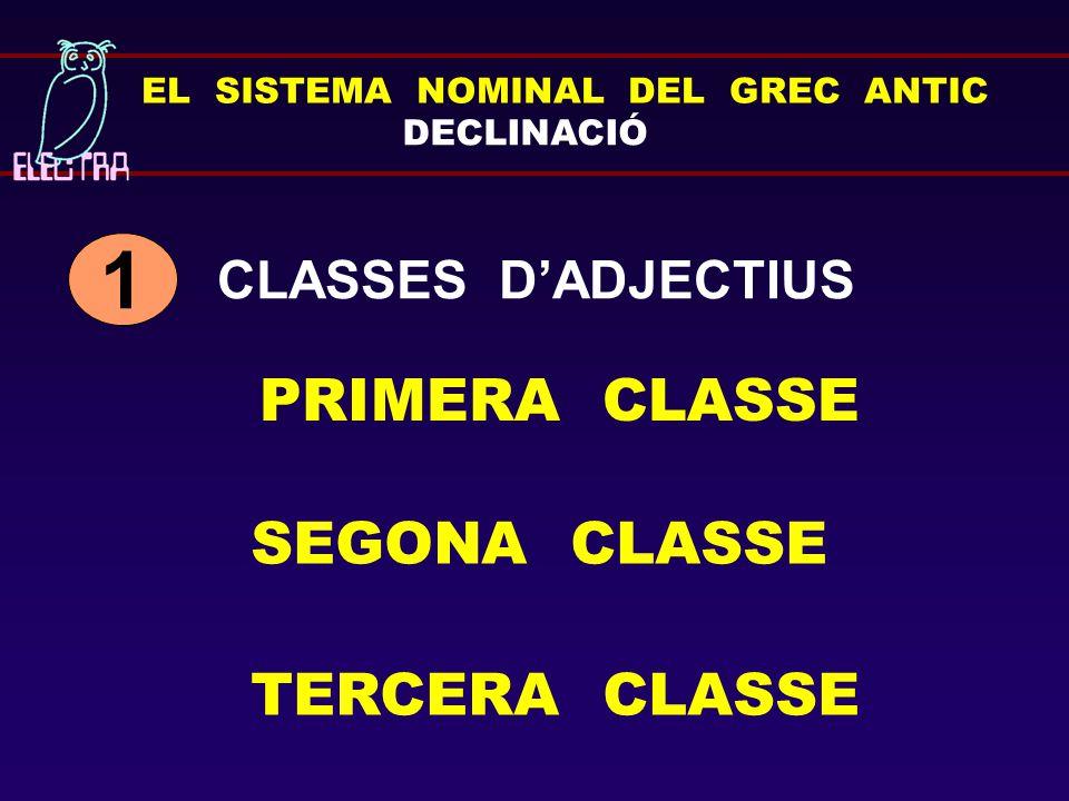 1 PRIMERA CLASSE SEGONA CLASSE TERCERA CLASSE CLASSES D'ADJECTIUS
