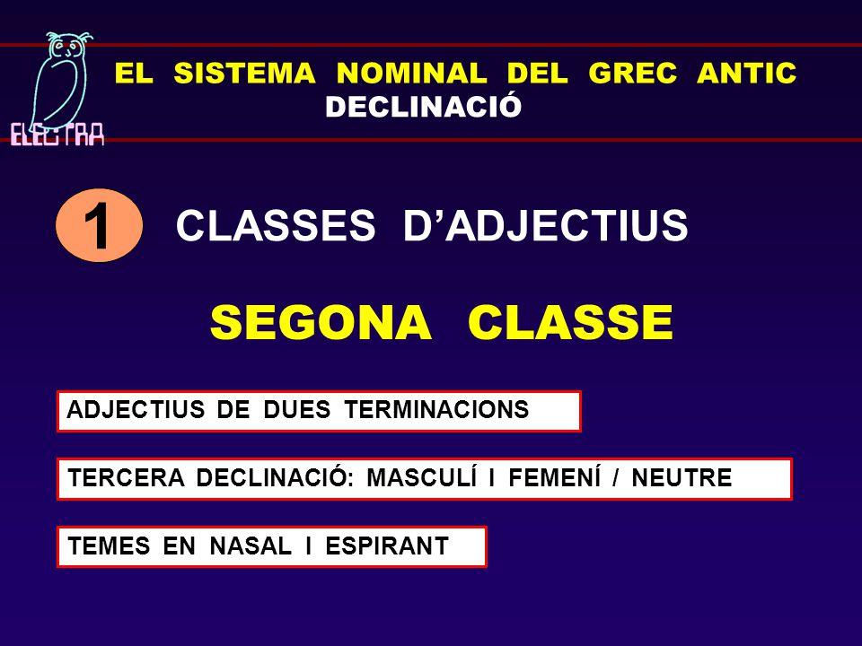 1 SEGONA CLASSE CLASSES D'ADJECTIUS EL SISTEMA NOMINAL DEL GREC ANTIC