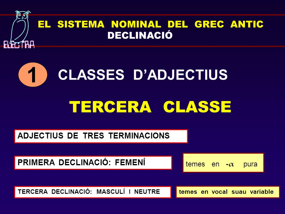 1 TERCERA CLASSE CLASSES D'ADJECTIUS EL SISTEMA NOMINAL DEL GREC ANTIC