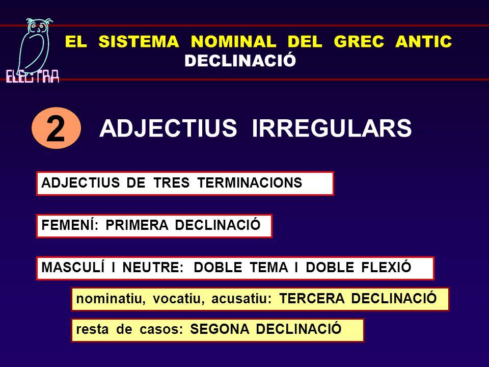 2 ADJECTIUS IRREGULARS EL SISTEMA NOMINAL DEL GREC ANTIC DECLINACIÓ