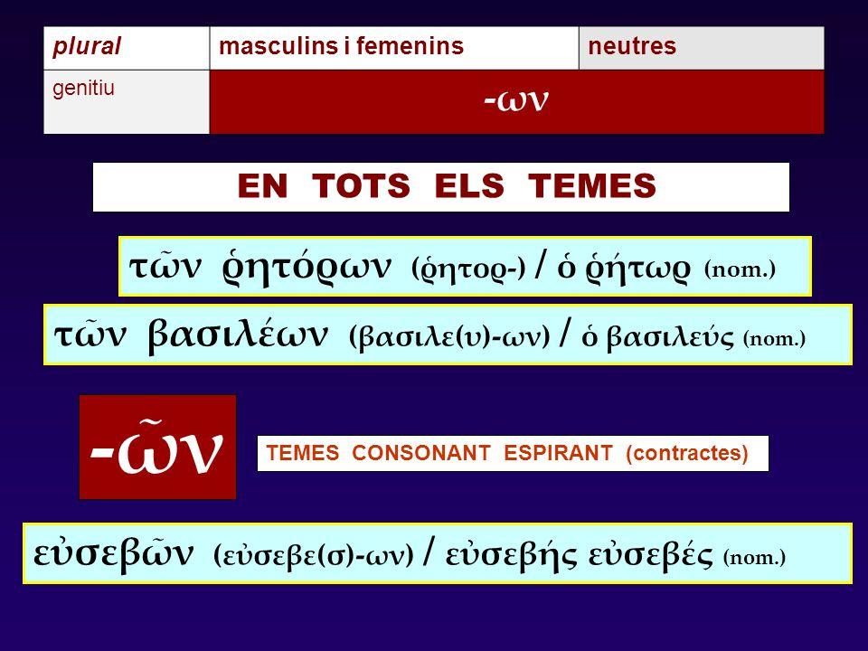 -ῶν -ων τῶν ῥητόρων (ῥητορ-) / ὁ ῥήτωρ (nom.)