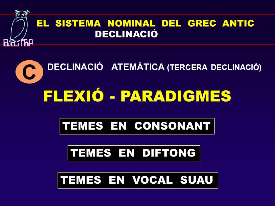 C FLEXIÓ - PARADIGMES TEMES EN CONSONANT TEMES EN DIFTONG