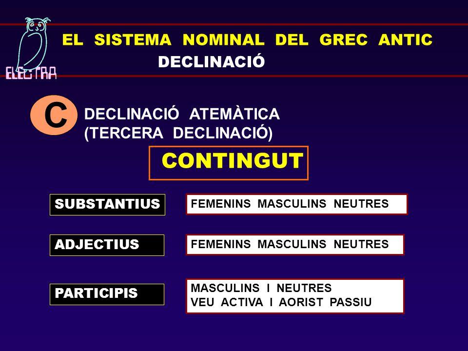 C CONTINGUT EL SISTEMA NOMINAL DEL GREC ANTIC DECLINACIÓ