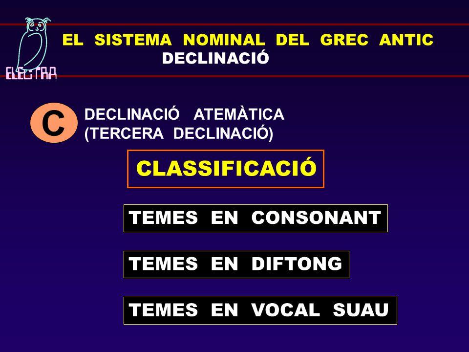 C CLASSIFICACIÓ TEMES EN CONSONANT TEMES EN DIFTONG