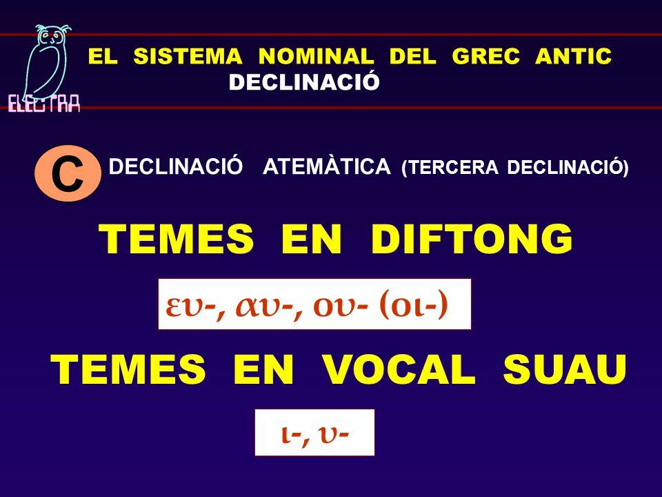 C TEMES EN DIFTONG TEMES EN VOCAL SUAU ευ-, αυ-, ου- (οι-) ι-, υ-