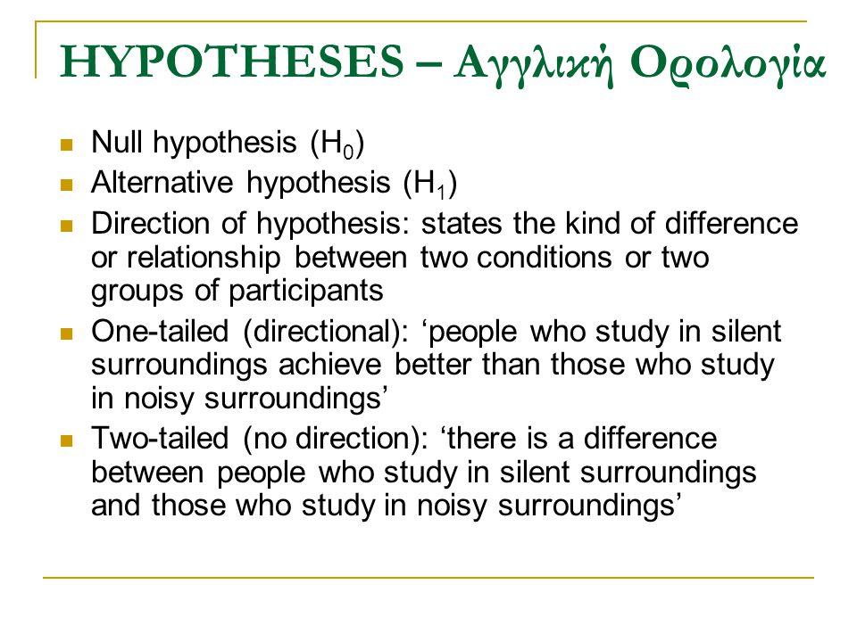 HYPOTHESES – Αγγλική Ορολογία