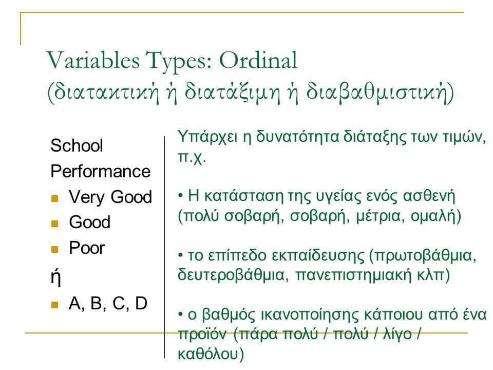 Variables Types: Ordinal (διατακτική ή διατάξιμη ή διαβαθμιστική)