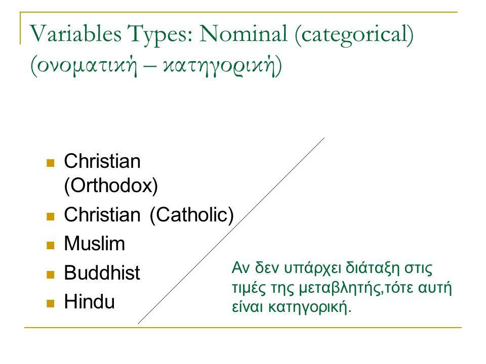 Variables Types: Nominal (categorical) (ονοματική – κατηγορική)
