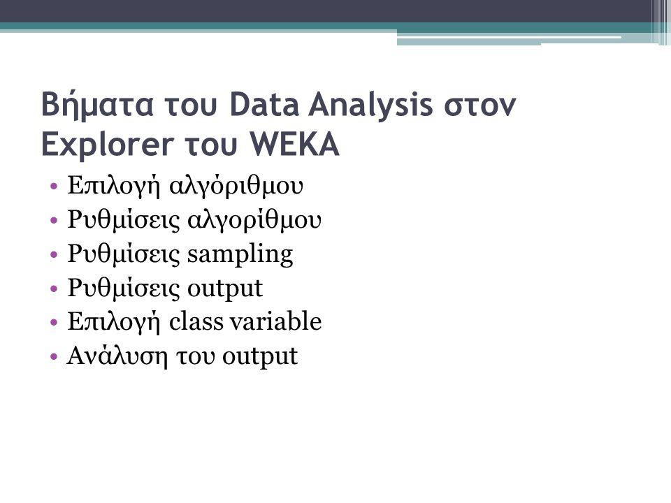 Βήματα του Data Analysis στον Explorer του WEKA