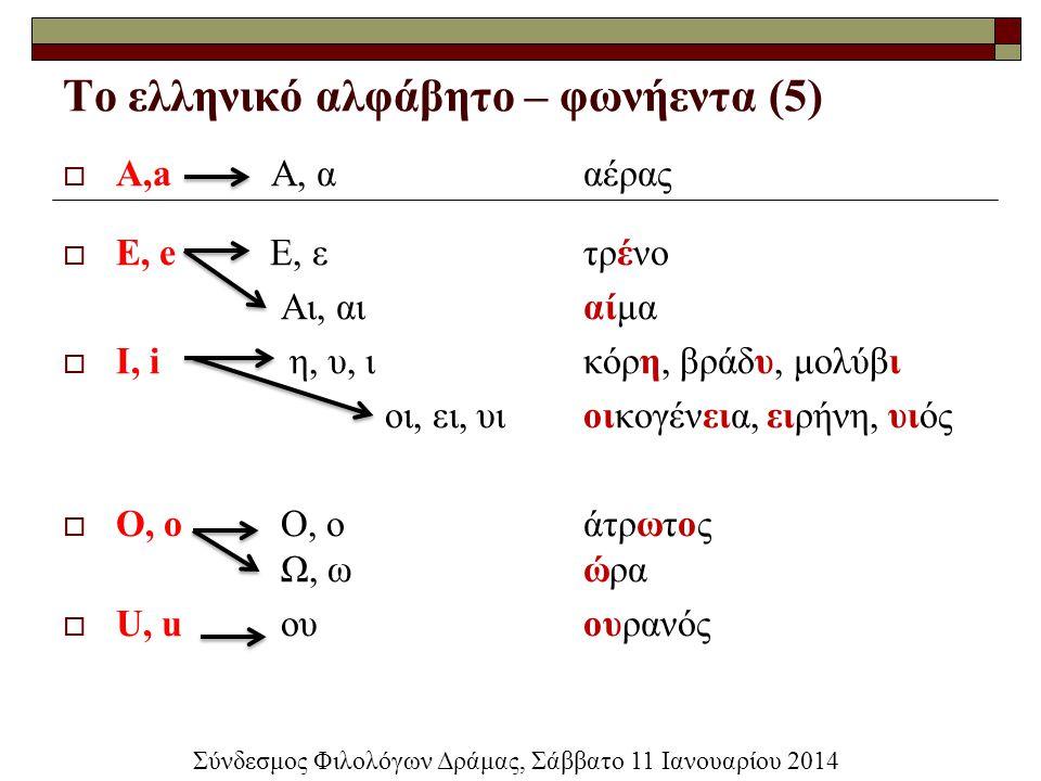 Το ελληνικό αλφάβητο – φωνήεντα (5)