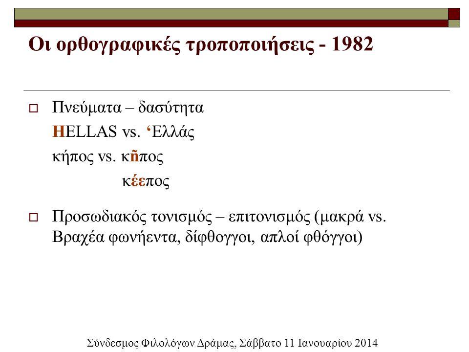 Οι ορθογραφικές τροποποιήσεις - 1982