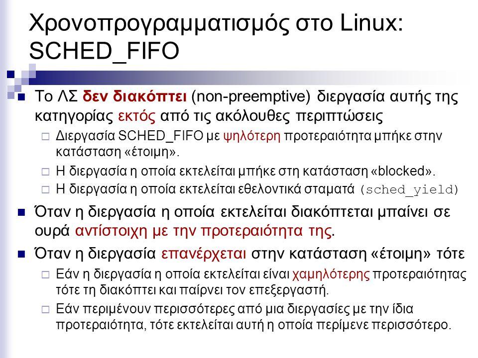 Χρονοπρογραμματισμός στο Linux: SCHED_FIFO