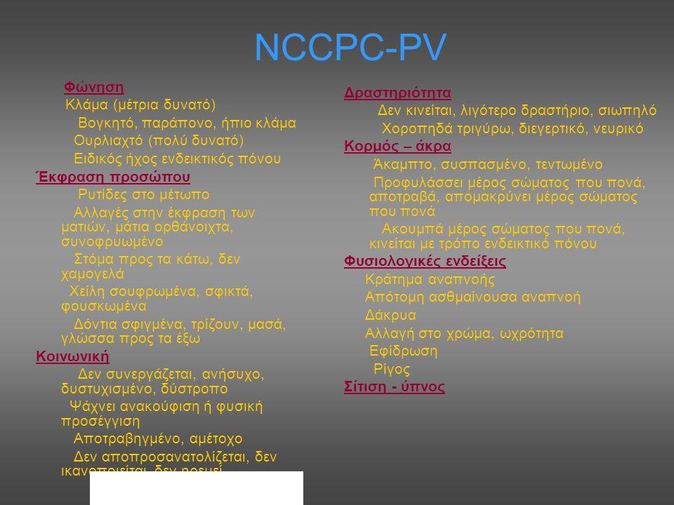 NCCPC-PV Κλάμα (μέτρια δυνατό) Βογκητό, παράπονο, ήπιο κλάμα