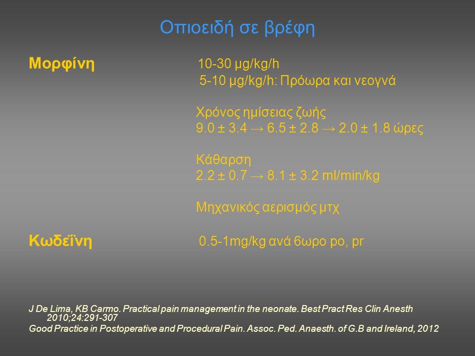 Οπιοειδή σε βρέφη Μορφίνη 10-30 μg/kg/h