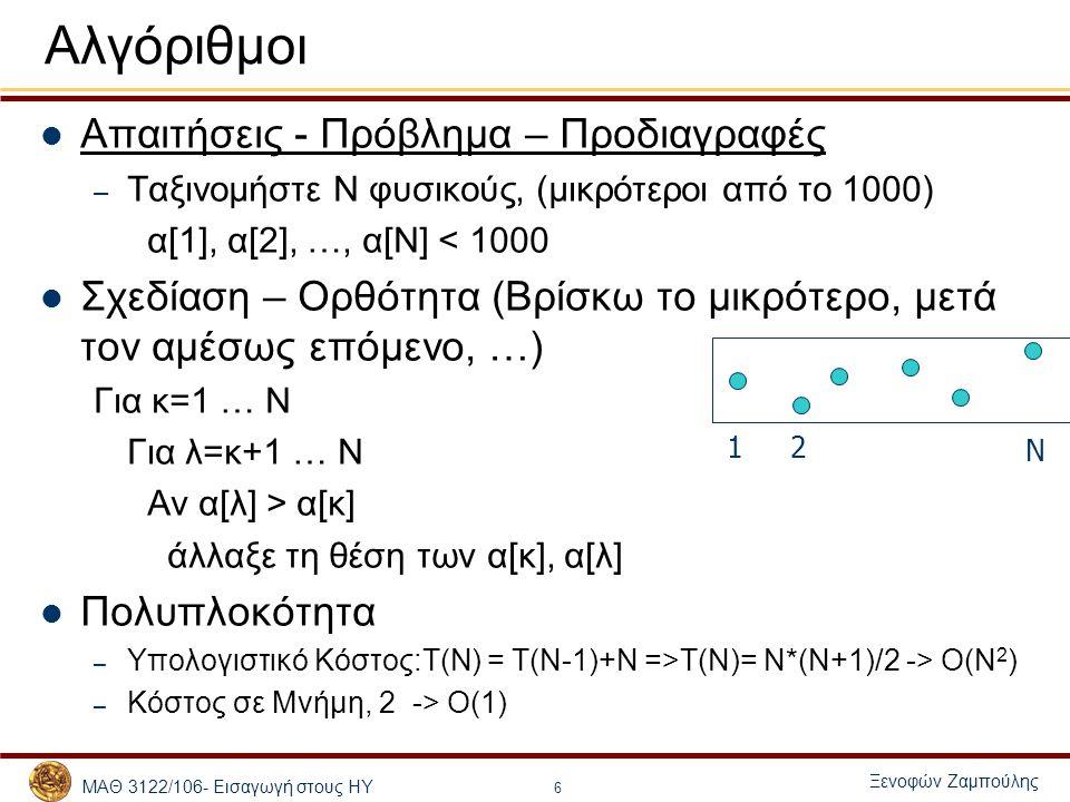 Αλγόριθμοι Απαιτήσεις - Πρόβλημα – Προδιαγραφές