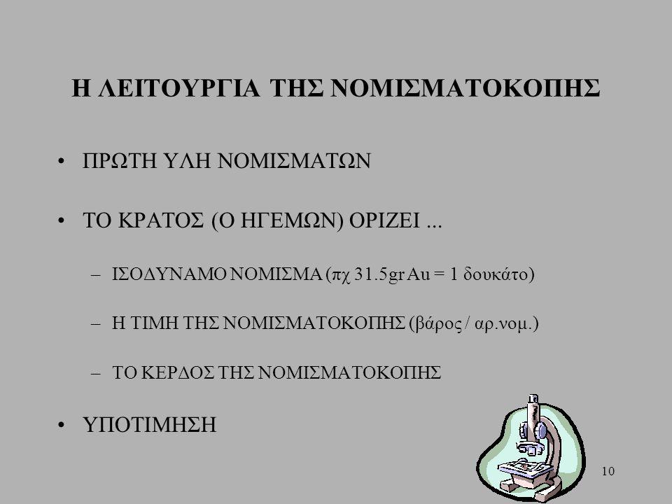 Η ΛΕΙΤΟΥΡΓΙΑ ΤΗΣ ΝΟΜΙΣΜΑΤΟΚΟΠΗΣ