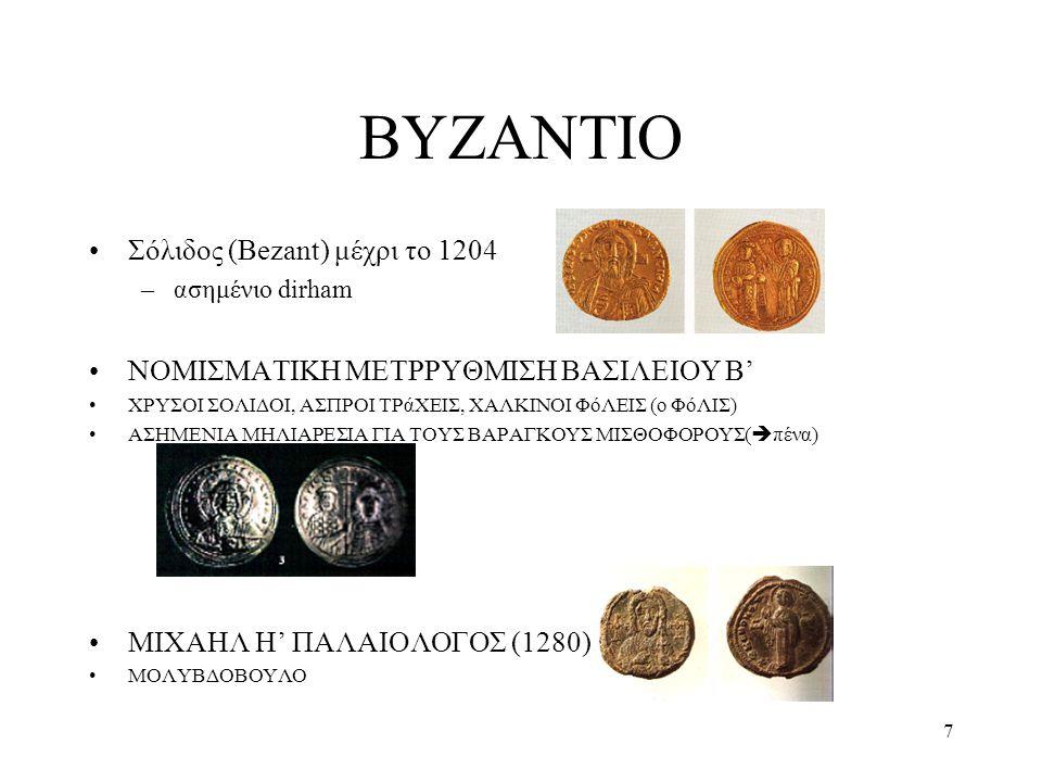 ΒΥΖΑΝΤΙΟ Σόλιδος (Bezant) μέχρι το 1204