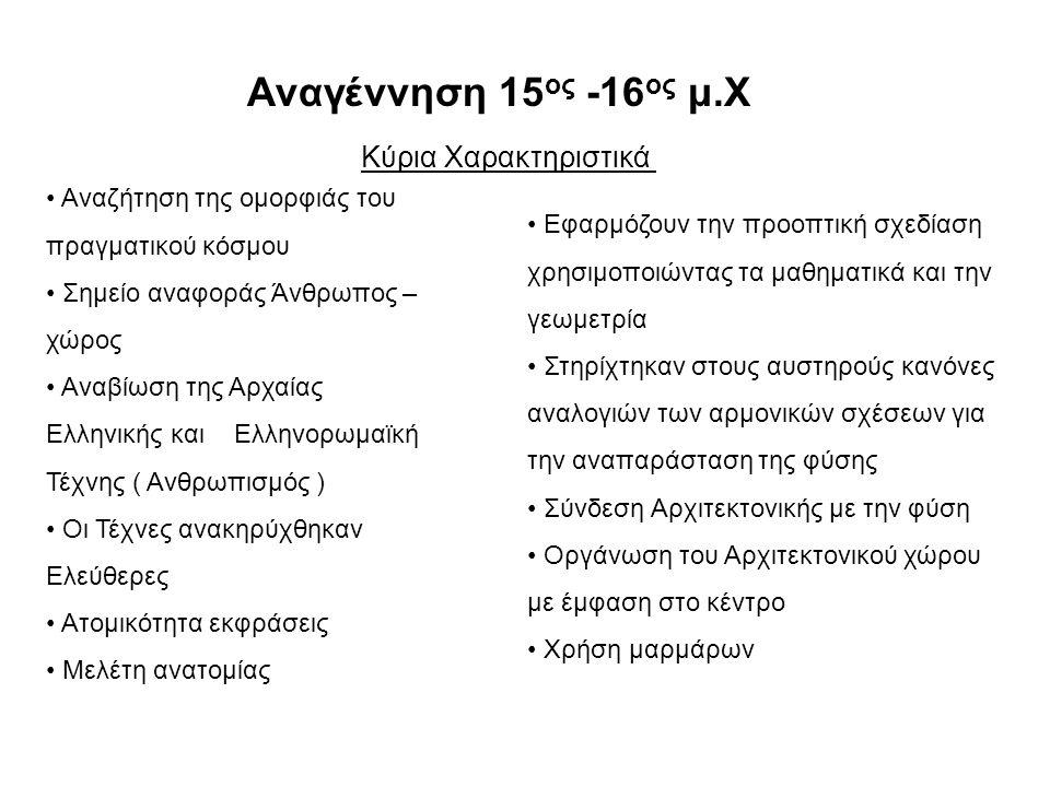 Αναγέννηση 15ος -16ος μ.Χ Κύρια Χαρακτηριστικά
