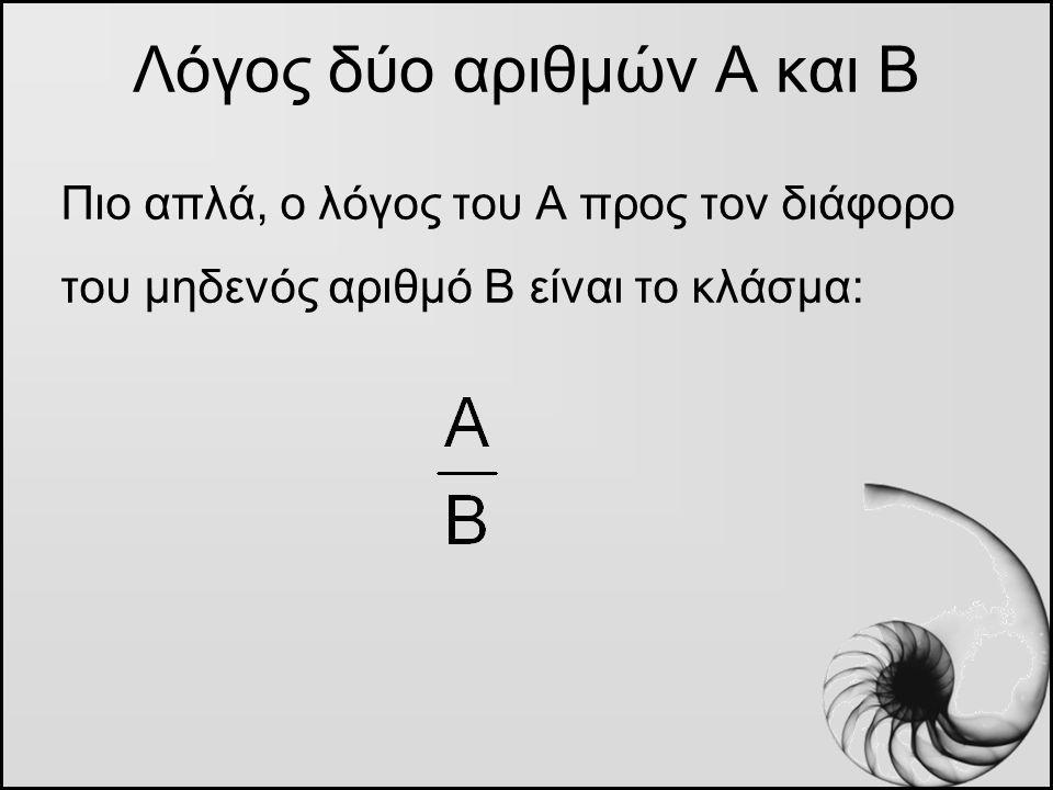 Λόγος δύο αριθμών Α και Β