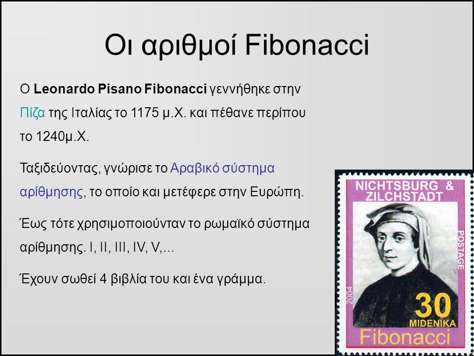 Οι αριθμοί Fibonacci Ο Leonardo Pisano Fibonacci γεννήθηκε στην Πίζα της Ιταλίας το 1175 μ.Χ. και πέθανε περίπου το 1240μ.Χ.