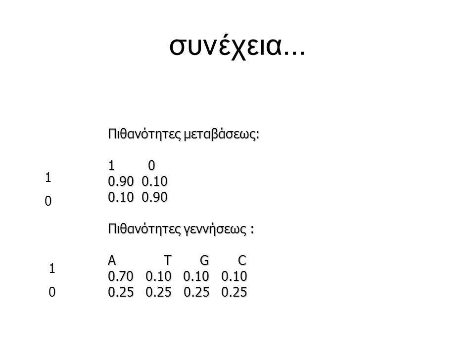 συνέχεια... Πιθανότητες μεταβάσεως: 1 0 0.90 0.10 0.10 0.90 1