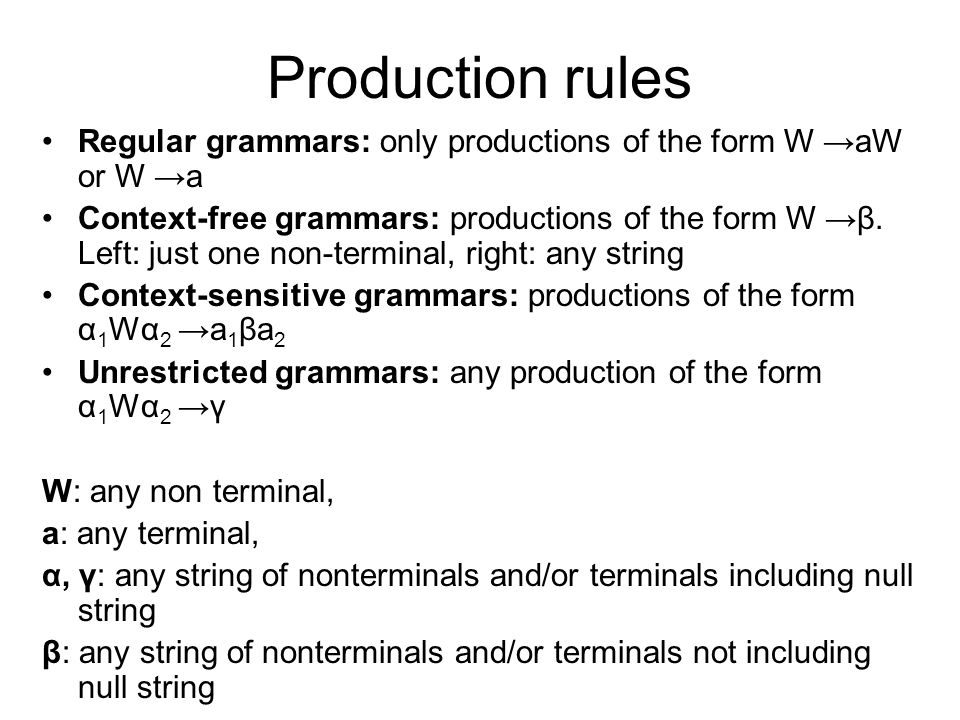 Production rules Regular grammars: only productions of the form W →aW or W →a.