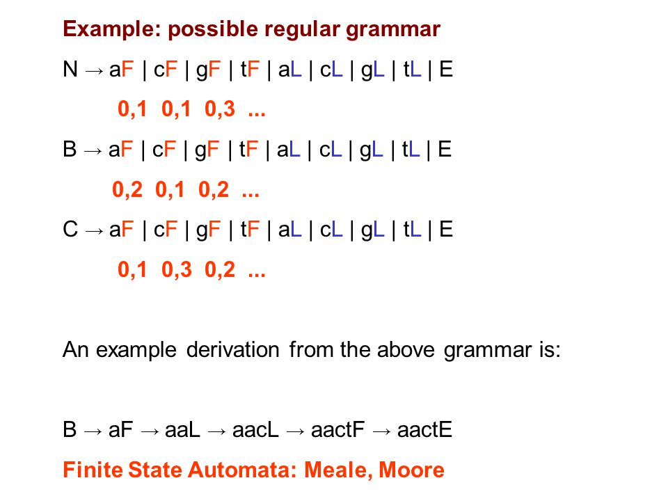 Example: possible regular grammar