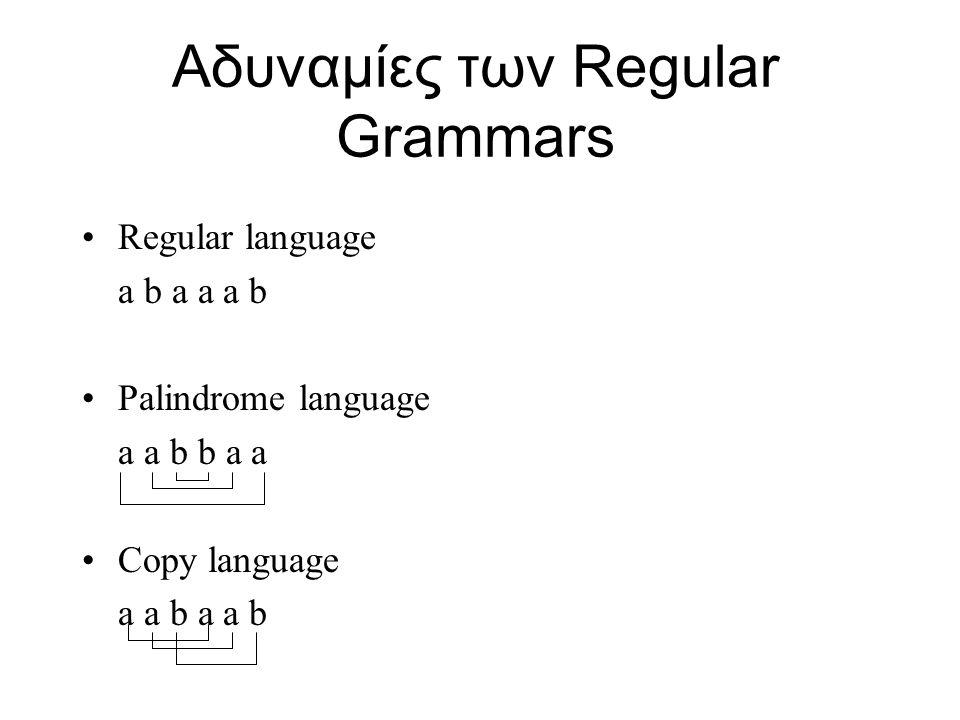 Αδυναμίες των Regular Grammars