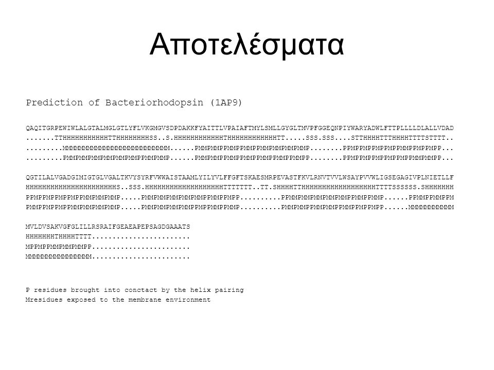 Αποτελέσματα Prediction of Bacteriorhodopsin (1AP9)