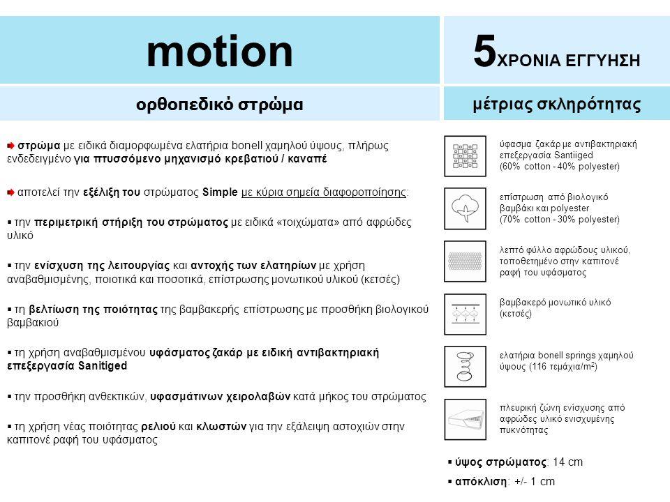 motion 5ΧΡΟΝΙΑ ΕΓΓΥΗΣΗ ορθοπεδικό στρώμα μέτριας σκληρότητας