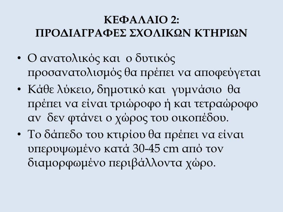 ΚΕΦΑΛΑΙΟ 2: ΠΡΟΔΙΑΓΡΑΦΕΣ ΣΧΟΛΙΚΩΝ ΚΤΗΡΙΩΝ