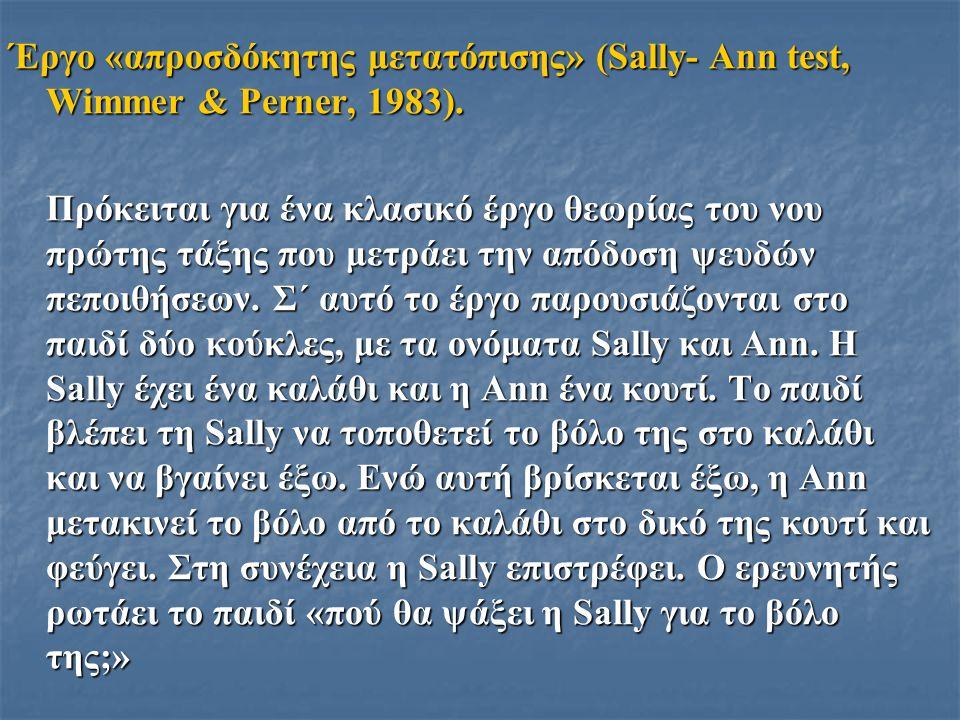 Έργο «απροσδόκητης μετατόπισης» (Sally- Ann test, Wimmer & Perner, 1983).