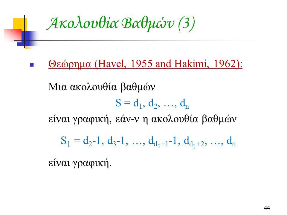 Ακολουθία Βαθμών (3) Θεώρημα (Havel, 1955 and Hakimi, 1962):