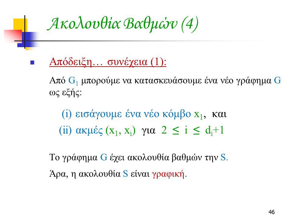 Ακολουθία Βαθμών (4) Απόδειξη… συνέχεια (1):