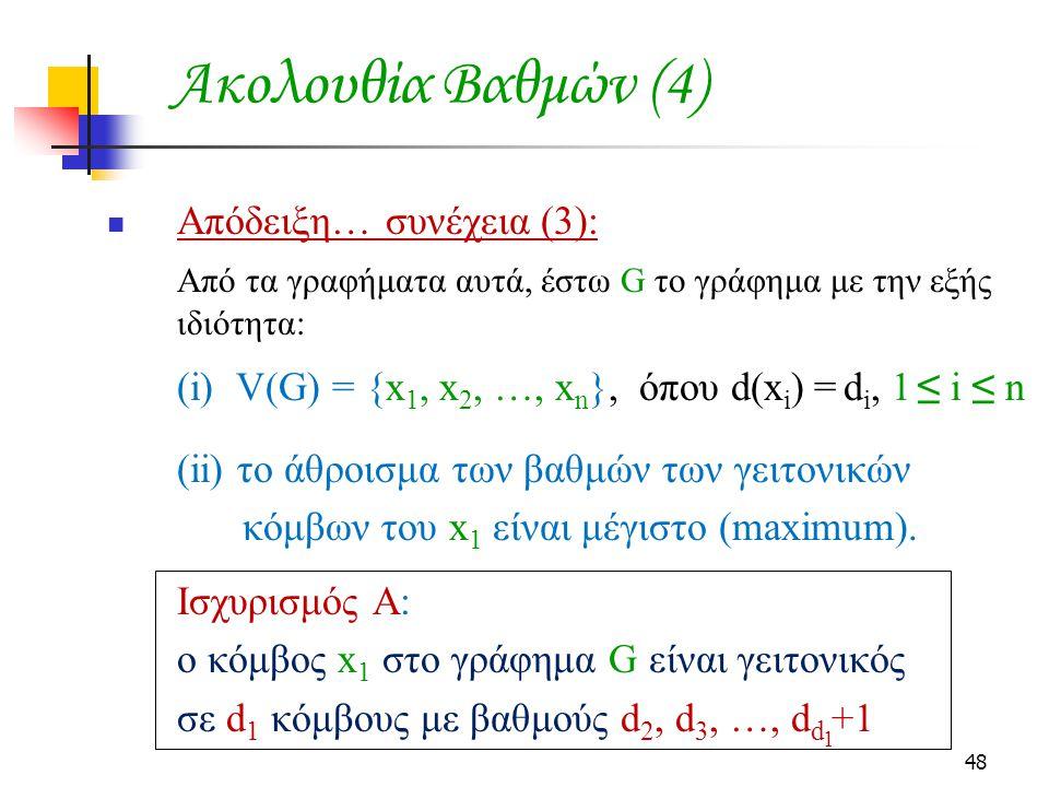 Ακολουθία Βαθμών (4) Απόδειξη… συνέχεια (3):