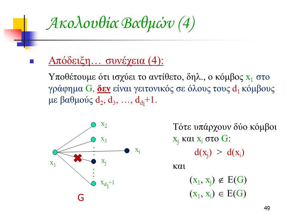 Ακολουθία Βαθμών (4) Απόδειξη… συνέχεια (4):