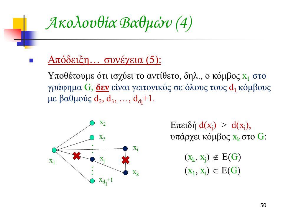 Ακολουθία Βαθμών (4) Απόδειξη… συνέχεια (5):