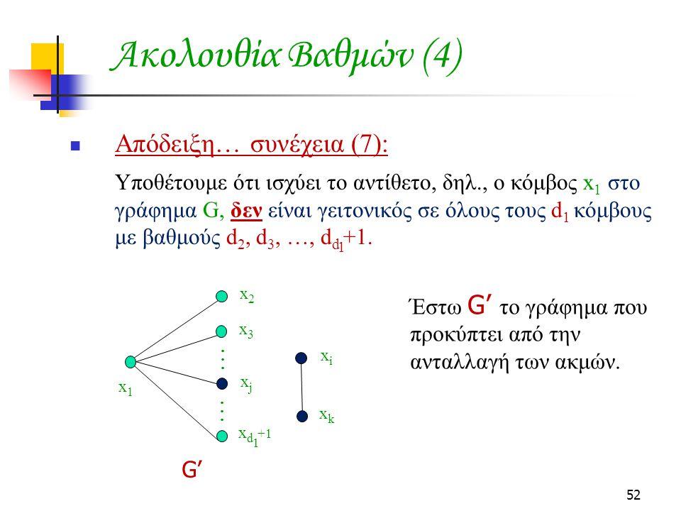Ακολουθία Βαθμών (4) Απόδειξη… συνέχεια (7):