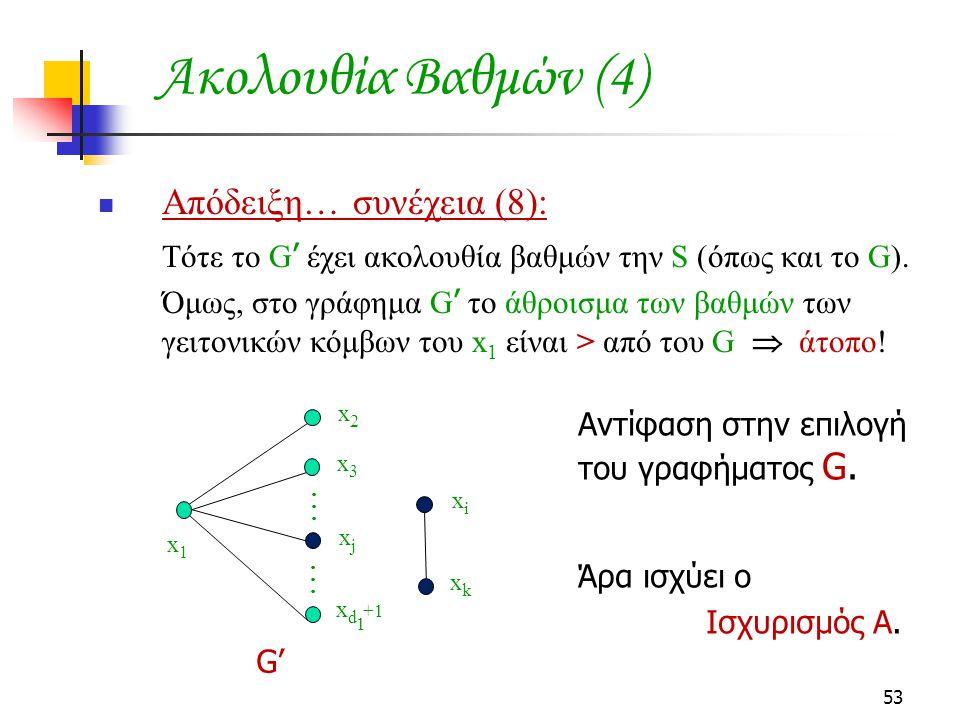 Ακολουθία Βαθμών (4) Απόδειξη… συνέχεια (8): Άρα ισχύει ο