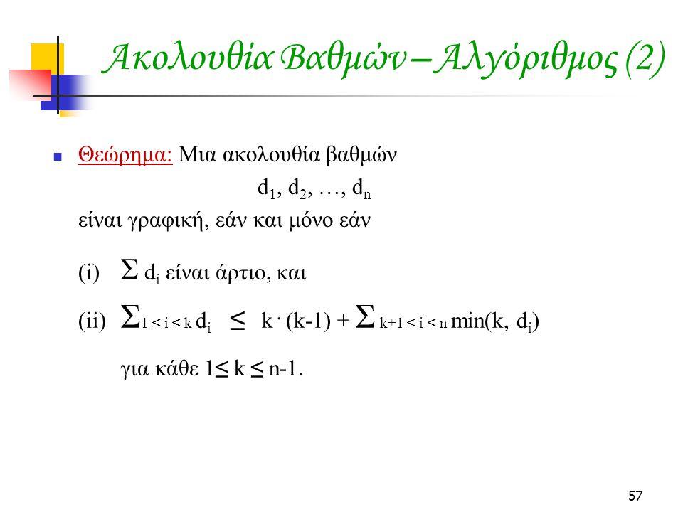Ακολουθία Βαθμών – Αλγόριθμος (2)