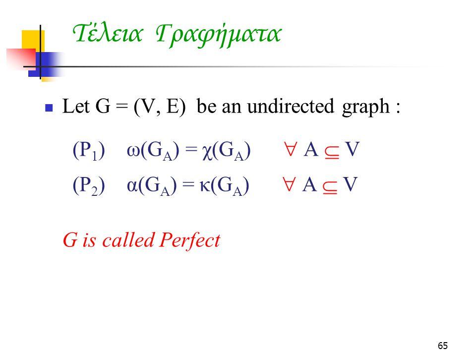 Τέλεια Γραφήματα Let G = (V, E) be an undirected graph :