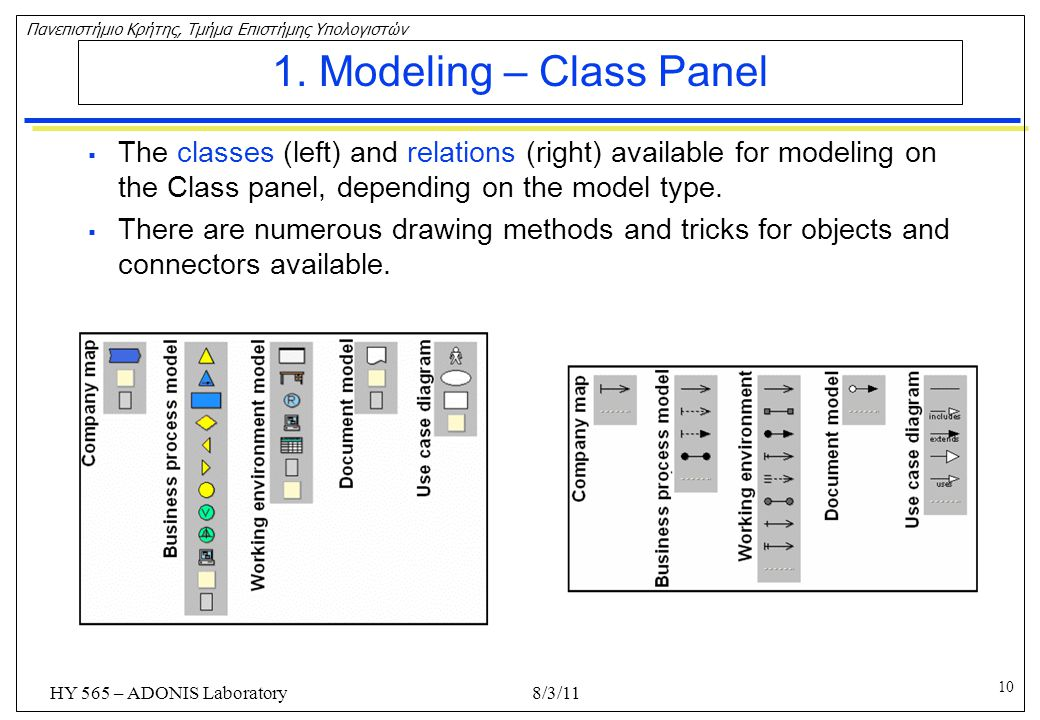 1. Modeling – Class Panel The classes (left) and relations (right) available for modeling on the Class panel, depending on the model type.