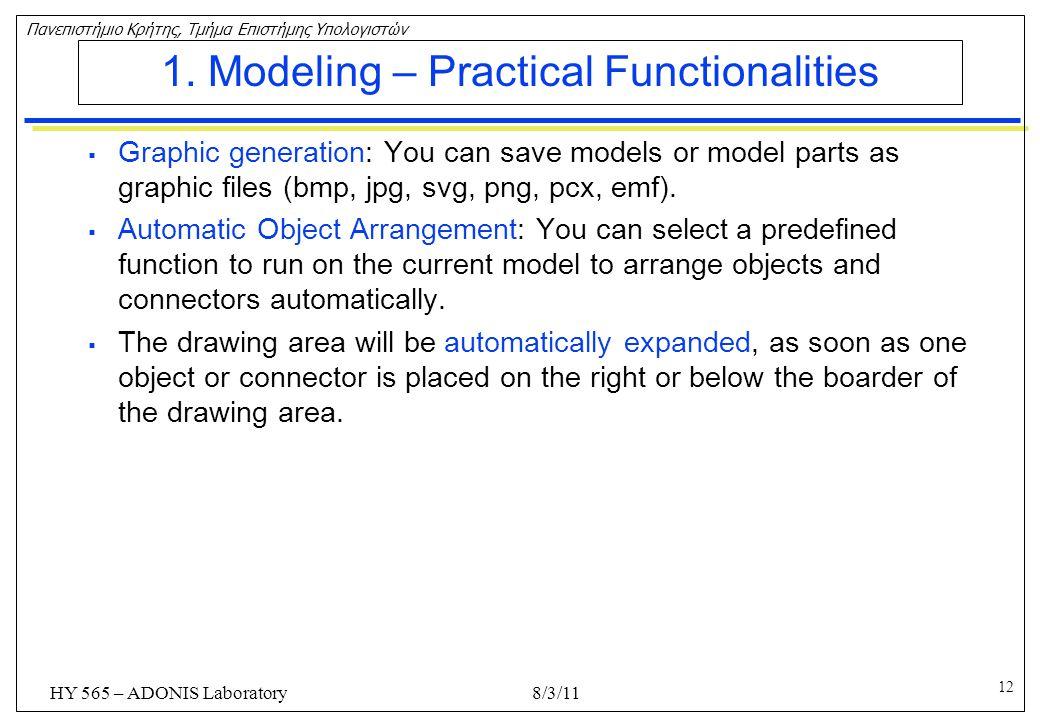 1. Modeling – Practical Functionalities