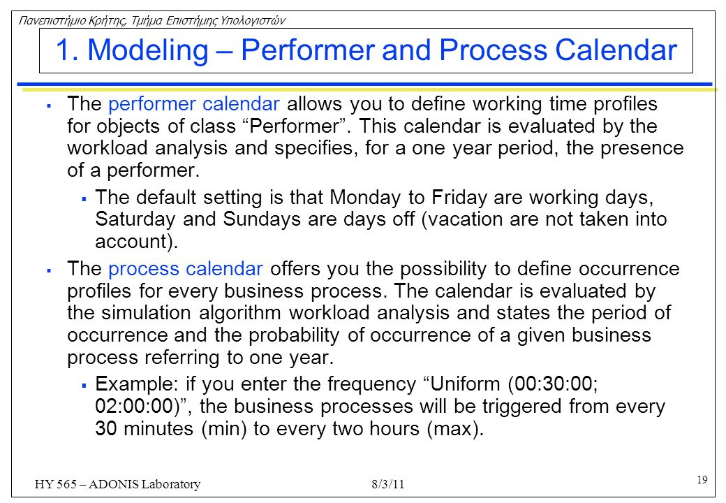 1. Modeling – Performer and Process Calendar