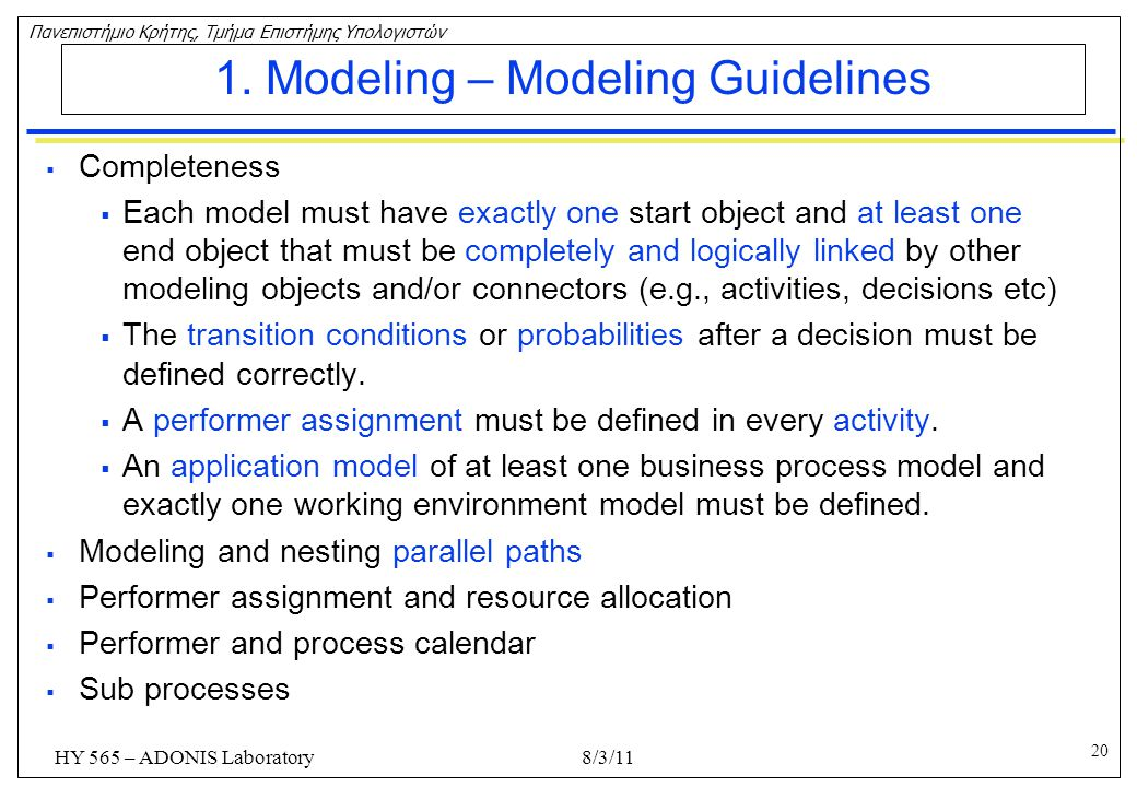 1. Modeling – Modeling Guidelines