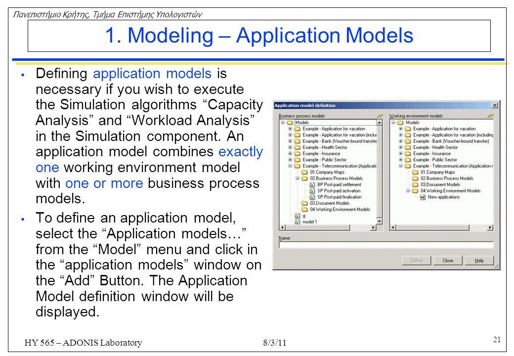 1. Modeling – Application Models