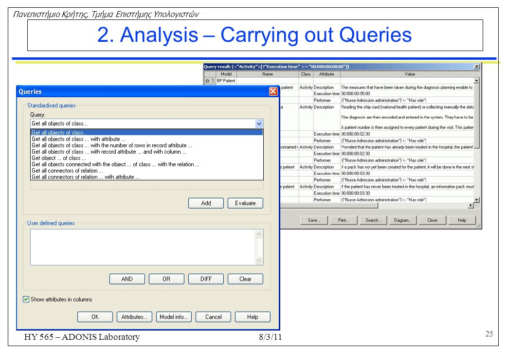 2. Analysis – Carrying out Queries