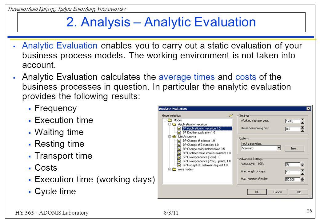 2. Analysis – Analytic Evaluation