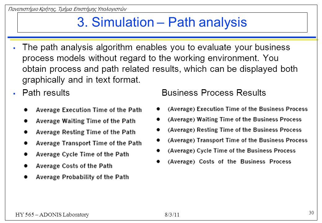 3. Simulation – Path analysis
